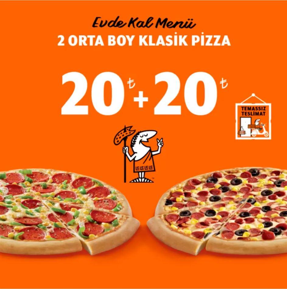 2 Orta Boy Pizza 36 TL